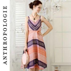 Anthropologie Maeve Summer Cottage Dress Coral